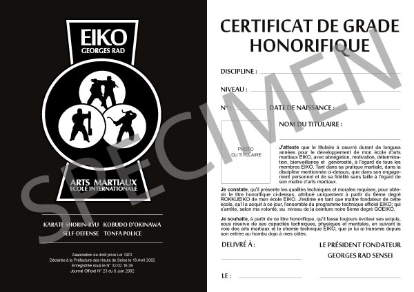EIKO-certificat-de-grade-honorifique-specimen